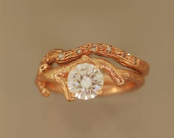 Rose Gold Branch Bud with 6 mm moissanite, alternative wedding ring, twig ring, twig engagement ring, rose gold ring