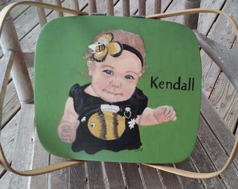 casserole cake basket with painted lid, portrait of child, portrait of favorite place, portrait of pet, picnic basket, painted lid