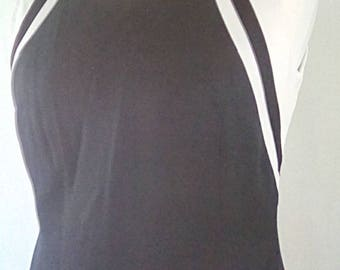 Vintage maxi dress 90s by Emozioni black white monochrome  dress linen size medium