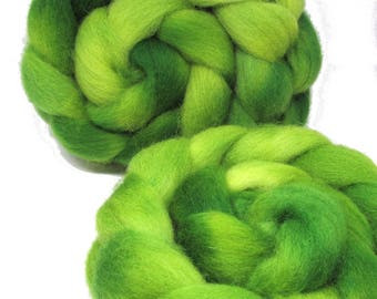 Hand Dyed Texel Wool 100g 3.5oz Combed Wool Top Daintree 100g
