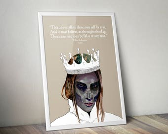 Hamlet Art, Printable Wall Art, William Shakespeare Quote Poster, Digital Download Print, Gift for Book Lover, Bookworm, Librarian, Teacher