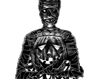Monster Holiday: Mummy Original Halloween Ink Drawing