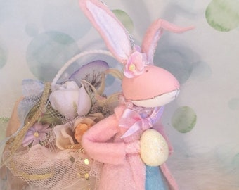 Easter bunny doll easter ornament pastel vintage retro inspired pink bunny ornament spring decor