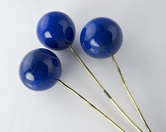 20% OFF Vintage Japanese lapis blue rounds on wire, 6mm pkg of 10. b11-bl-1146(e)