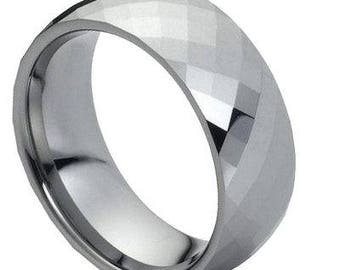 Domed Faceted Ring – 8mm