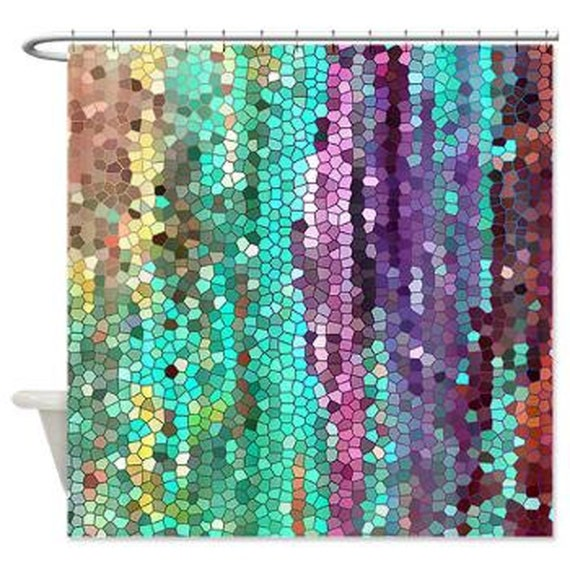 Purple And Teal Shower Curtain. Beautiful Shower Curtain  Teal and purple Mosaic unique fabric teal colorful bathroom decor art for the