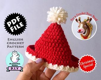 Christmas Special CROCHET PATTERN, DIY, Christmas Hat for Deer & Zebra, Crochet Taxidermy, Amigurumi Crochet Pattern by Manafka Mina
