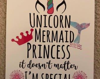 Unicorn, Mermaid, Princess 8x10 Photo Print