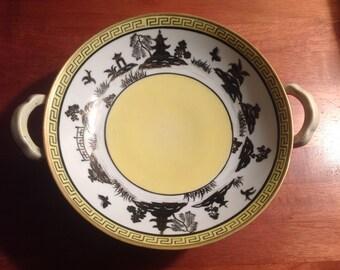 Nippon Blue Willow - Yellow Willow Variant - Greek Key Border 2 Handled Bowl