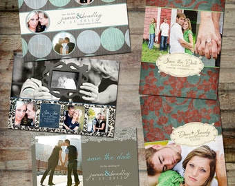 Save the Date Announcement - PSD Template Set - Wedding