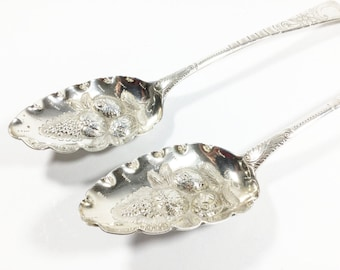 Pair of Georgian sterling silver berry spoons, George III head, London hallmarks, Repousse bowl, Solid silver serving spoons