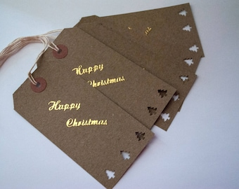 Natural  christmas gift tag  x5  with merry christmas  in gold an  cut out  tree