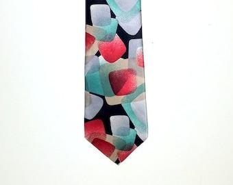 Vintage tie abstract tie handsome silk tie multicolored patterned tie necktie mens accessories mens gift special formal work business