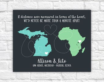 Long Distance Love Quote Maps, Personalized Two Maps, Long Distance Romance, Love, LDR, Living Apart, Africa, Michigan, Bold | WF580