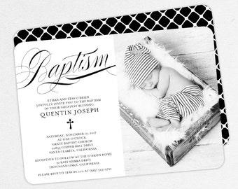Photo Baptism Invitation, Christening Invitation, Boy Baptism Invitation, Printable Baptism Invitation, Invite PDF, Script, Black, Quentin