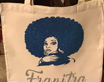 Personalized Natural or Black Canvas Tote Bag