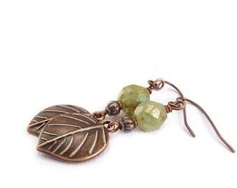 Copper Leaves Dangle Earrings - Pale Green Picasso Glass Beads - Bohemian Earrings - Rustic Leaf Earrings