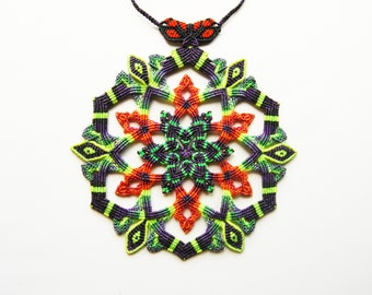 Mandala Flower Bohemian Necklace. Macrame spiritual jewelry