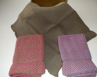Dish Cloths Knit in Cotton, Dishcloth, Wash Cloth, Kitchen, Taupe,