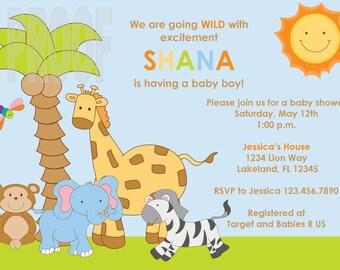 Jungle Babies Custom Baby Shower Invitation
