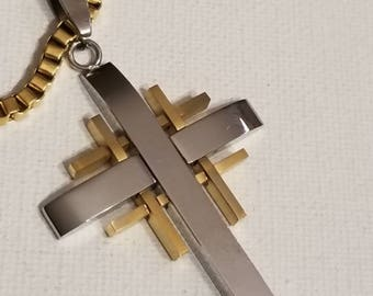 Stainless Cross, Biker Jewelry. Two Tone, Stainless Steel, Biker Cross Necklace, Gold and Silver Stainless, Gold Stainless Box Chain