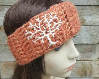 Womens Headband with Tree Design, Women's Ear Warmer, Tree of Life Headband, Winter Headband, Tree Headband, Coral, Cream, READY TO SHIP