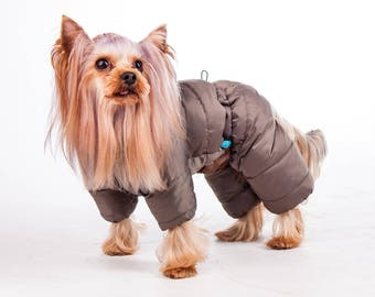 Warm Dog Snowsuit in Beige shades   - Soft Micro Fiber Filler - Viscose Lining
