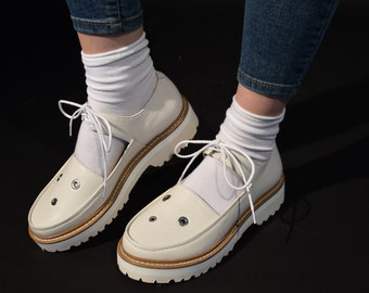 Women's white leather shoes, White Mary Jane's, Closed-toe