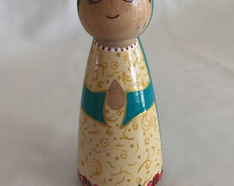 Our Lady of Guadalupe Peg Doll; Our Lady Peg Doll; Our Lady Guadalupe