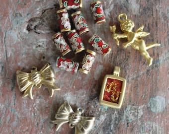 Potpourri Bead lot, destash lot, Cloisonne, Gold plated vintage and new beads, earrings, Pendants, vintage jewelry, silver, blue, rainbow