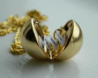 Gold/Silver Secret Message Ball Locket. Orb. Lover.Bridesmaid. Best Friends.Gift