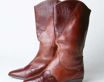 BEAUTIFUL Vintage Toffee Western Audrey Boots With Unique Stitching VERY Comfy
