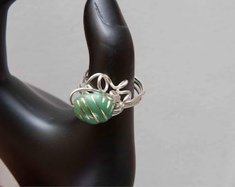 silver & glass wire wrapped ring