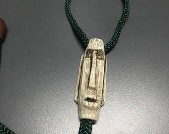 Vintage Wood Mask Bolo Tie Necklace