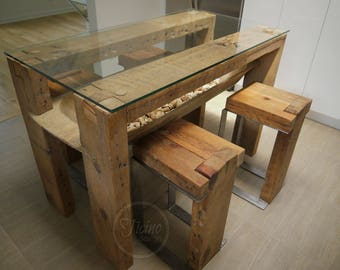 Reclaimed Wood Dining Table. Glass Top Table. Wood Table. Kitchen Table.  Rustic