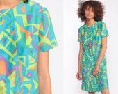 Tribal Mini Dress Mod Shift Neon Dress Psychedelic 60s GEOMETRIC Print Vintage 70s Boho Hippie Minidress Bohemian Lime Green Small