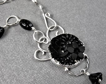 Nightshade Garden Necklace - Black Vintage Glass and Sterling Silver