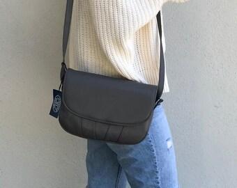 Gray Leather Crossbody Bag - Vintage