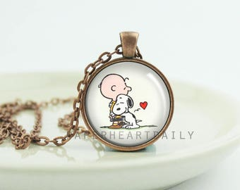 Snoopy Pendant - Snoopy Necklace - Charlie Brown - Copper Snoopy - Peanuts Gang Jewelry - Dog Lover Pendant - Snoopy Love Charm -  (B9719)