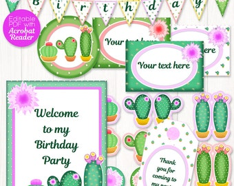 Cactus party decor printable, 10 EDITABLE cactus decorations for cactus birthday, tropical party: bunting, tags, labels, signs, cactus decor