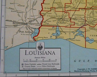 Vintage map of Louisiana, Original 1930s Old State map for wall Art, Travel Poster / antique map