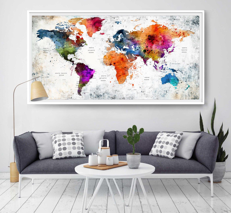 World Map Wall Art World Map Poster World Map Decor World