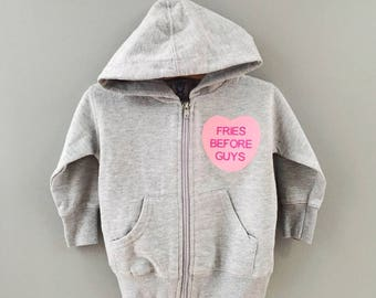 Fries Before Guys™, Baby Sweatshirt, Zip Up Hoodies, First Valentines Day Gift, New Baby Present, BFF Gifts, Best Friends Forever, Toddler