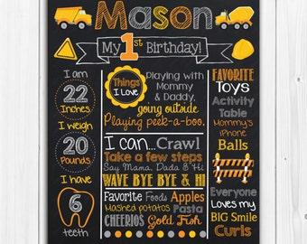 Construction Chalkboard - Chalk Board Poster - Custom Color - Birthday Printable Photography Prop Poster Printable Digital File