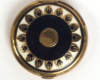 Art Deco Compact Richard Hudnut Black and White enamel
