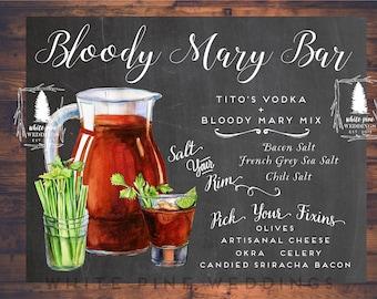 Printable Bloody Mary Bar sign, Chalkboard, Shower Brunch, Blood Mary sign, Bloody Mary Bar, Drink sign, Easter Brunch sign, Wedding Brunch