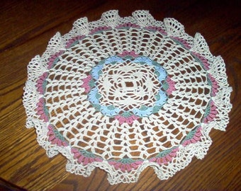 Morning Glory Ruffled Crochet Lace Thread Art Doily New Handmade
