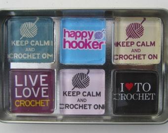 Crochet Themed Refrigerator Magnets, Crochet Lover Gift, Crochet Theme Fridge Magnets, Set of 6 Fridge Magnets