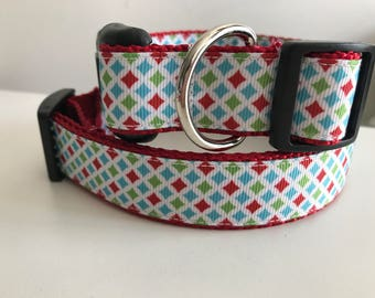 1 inch Red, Blue, Green Diamond Winter Holiday Dog Collar on Red Nylon