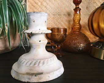 Vintage White Washed  Candlestick Holder, Made in India
